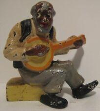 Old Miniature Cast Iron Black Man w/ Banjo Instrument