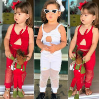 Toddler Baby Girls Kids Solid Straps Tops+Tulle Pants Summer Outfits Clothes Set