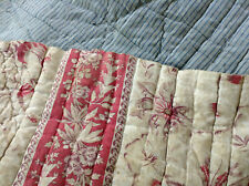 Antique French quilt fragment Fabric Piece 2 sides Madder Brown/Blue stripe 1880