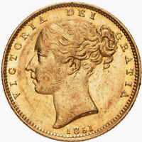 1851 AEF/EF Queen Victoria Gold Shield Reverse Full Sovereign