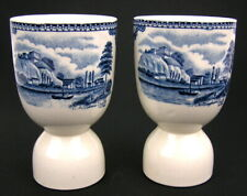 2 Johnson Bros Brothers OLD BRITAIN CASTLES Blue Egg Cups Eggcup England