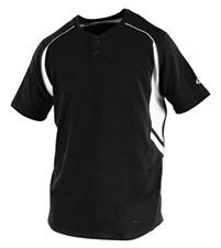 RAWLINGS Youth 2-Button Baseball Jersey | Black/White | YS | YROAD-B-88 | NWT