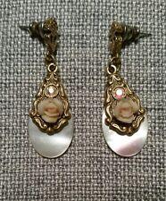 dangle earrings Rhinestone, Rose. Pink Abalone shell teardrop