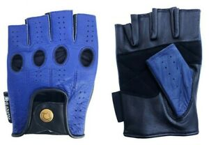 MEN'S BLUE LEATHER FINGERLESS DRIVING MOTORCYCLE BIKER GLOVES Work Out Exercise