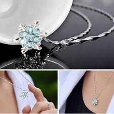 Beauté colliers Crystal Femmes flocon de neige Congelé Argent pendentif