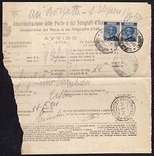 STORIA POSTALE Regno 1924 Avviso Pagamento Vaglia a Bologna (FSF)
