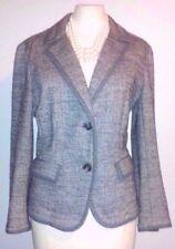 Ann Taylor Loft Jacket Knit Sz M Dress Suit Wool Gray Blue Boucle Career Casual