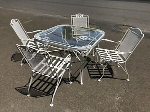 Five Piece Woodard Vintage Patio Furniture With Glass Top Table