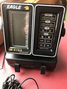 Eagle Z-6100 LCG Fish Finder Complete w/ Case, and Transduce, Tested and Works
