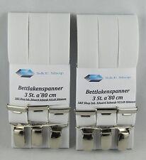 2 Pack. Bettlakenspanner-eigene Herst. a 3 St.(1 Pack.€ 6,00) weiß neu Nr.420