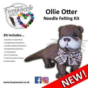 Needle Felting Otter Kit NEW includes instructions, carded wool, felting needles