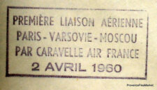 1960 CARAVELLE  PARIS VARSOVIE MOSCOU  Airmail Aviation premier vol AC45