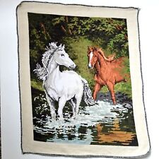 Finished 24 CT Cross Stitch Canvas Horses Completed Handmade Needlepoint