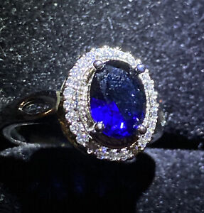 BLUE +WHITE  Created SAPPHIRE CLUSTER RING. OVAL CUT SIZE N