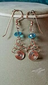 Spiral Wire Worked Crystal Beaded Copper Earrings. Hdcrafted A~K~N Design