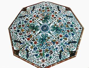 54 Inch Marble Dining Table Top with Pietra Dura Art White Office Meeting Table