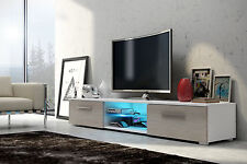 WHITE front SONOMA OAK TV Cabinet Stand Unit, 2 Doors Blue LED, 140cm UK STOCK!