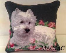 """Westie Dog Needlepoint Pillow 14""""x14"""" NWT"""