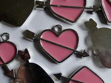 CLEARANCE 5 Pink Arrow Heart Acrylic Jewellery Charms/Pendants 31x53mm