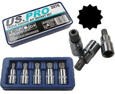 US PRO SPLINE BIT SOCKET SET M10 M12 M14 M18 & M16 tamperproof triple square