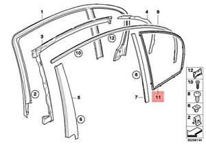 Genuine BMW M5 Glass Rear Door Window Right Frame For Fixed Side 51357033646