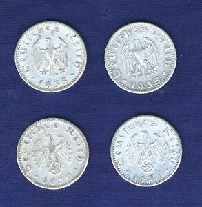 GERMANY THIRD REICH  50 PFENNIG COINS:  1935-A, 1935-E, 1939, 1940-A, LOT OF (4)