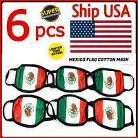 SALE! 6 PCS - Mexico Flag Reusable Mask Washable Face Cover Protective Mouth