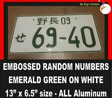 RANDOM NUMBERS -GREEN # ON WHITE PLATE- JAPANESE LICENSE PLATE ALUMINUM TAG JDM