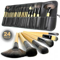 NEW 24 Piece Professional Cosmetics Wood Handle Brush Set with Case