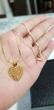 18k saudi gold chain and 21k heart pendant (Necklace)