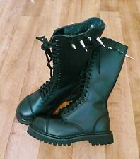 BLACK LEATHER BOOTS Grinders 5 PHANTOM lace up spikes GOTHIC SKINHEAD BIKER PUNK