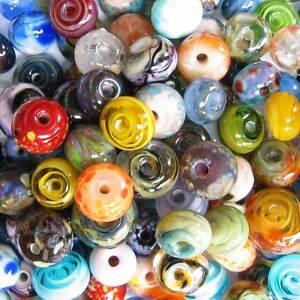DFJ Lampwork USA 100 Handmade Glass Spacer Beads Orphan Grab Bag Lot Assort sra