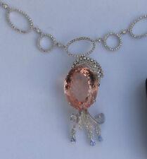 Estate Flawless 40.65 ct Morganite platinum Diamond drop 14k white gold Necklace