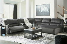 NEW 6pcs Sectional Living Room Fabric Reclining Sofa Set w. Electric Option F2D