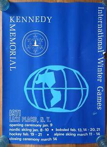 Original 1971 lake placid Kennedy memorial international winter games poster