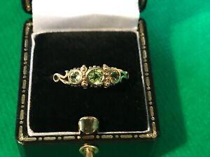 Beautiful 9ct Gold Peridot Ring - Size UK R½ - Vintage / Antique - European