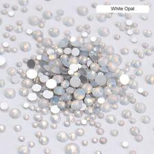 Opal Jelly 3D Nail Art Rhinestones White Mix Size Flat Bottom  Tips
