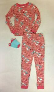Cuddl Duds Girls Coral Cats Long Sleeved Pajamas with Socks