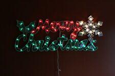 "46"" Merry Christmas with Snowflake Holographic Lighted Christmas Window Decor"