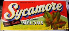 Vtg  SYCAMORE CALIFORNIA MELONS CRATE LABEL -1920's ORIGINAL! REDUCED 40%!