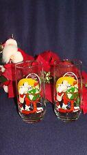 2- Coca-Cola Beverage Glasses Norman Rockwell used print Christmas Santa 1926