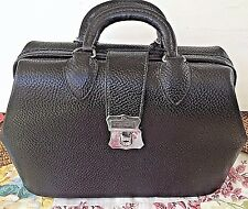 ANTIQUE Doctor Hand Bag by KRUSE  Black Pebbled Leather COWHIDE