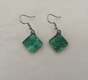 Fused Florentine Dichroic Glass Earrings/Surgical Steel Ear wires