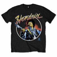 Official Jimi Hendrix T Shirt Script Circle Black Mens Classic Rock Band Tee New