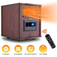 FLAMEMORE  1500W Portable Electric Space Heater Remote Wood Cabinet 12H Timer