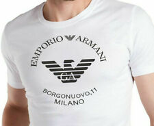 EMPORIO ARMANI white mens T-Shirt EA Chest Logo Borgonuovo Slim fit- Size M,L,XL