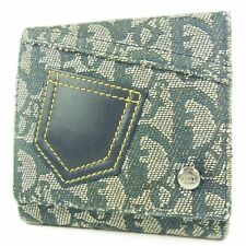 Auth Christian Dior Trotter Denim Jeans Canvas Bifold Wallet Purse F/S 2116