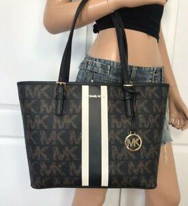 Michael Kors Jet Set Travel Medium Carryall Tote Black Brown Handbag Bag Purse