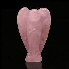 Pink Quartz Natural Crystal Guardian Angel Sculpture Handicraft Elegant Pendant