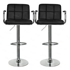 Set of 2 Bar Stools Swivel Armchair Faux Leather Kitchen Breakfast Chair Black
